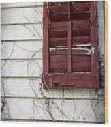 Old House Red Shutter 3 Wood Print