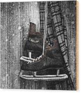 Old Ice Skates Hanging On Barn Wall Wood Print