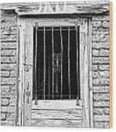 Old Jailhouse Door In Black And White Wood Print
