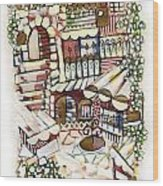 Old Jerusalem Courtyard Modern Artwork In Red White Green And Blue With Rooftops Fences Flowers Wood Print