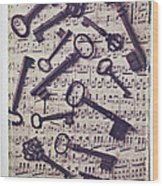 Old Keys On Sheet Music Wood Print