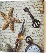 Old Letter With Pen And Starfish Wood Print
