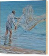Old Man Casting Net Wood Print