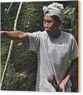 Old Man In Bali Wood Print