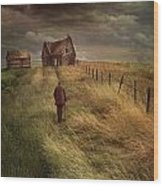 Old Man Walking Up A Path Of Tall Grass With Abandoned House In  Wood Print