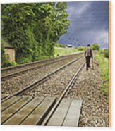 Old Man Walks Along Train Tracks Wood Print