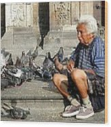 Old Man With Doves Wood Print