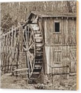 Old Mill In Sepia Wood Print