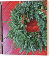 Old Mill Of Guilford Door Wreath Wood Print