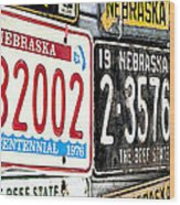 Old Nebraska Plates Wood Print