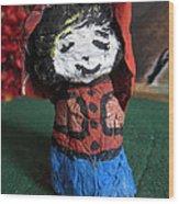 Old Newspaper Doll 07 Wood Print