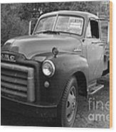 Old Nostalgic American Gmc Flatbed Truck . 7d9821 . Black And White Wood Print by Wingsdomain Art and Photography