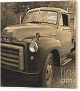 Old Nostalgic American Gmc Flatbed Truck . 7d9821 . Sepia Wood Print