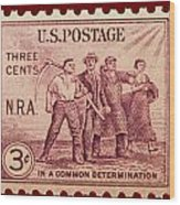 Old Nra Postage Stamp Wood Print