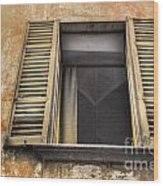 Old Open Window Wood Print