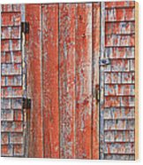 Old Orange Door  Wood Print