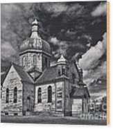 Old Prairie Church And Storm Front Wood Print