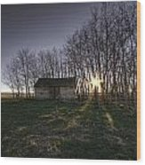 Old Prairie Homestead At Sunset Wood Print
