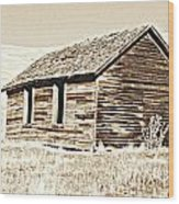 Old Ranch Hand Cabin L Wood Print