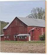 Old Red Barn With Short Silo Wood Print