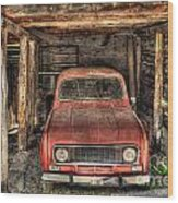 Old Red Car In A Wood Garage Wood Print