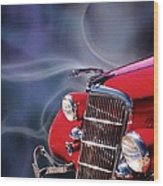 Old Red Hotrod Wood Print by Diana Shively