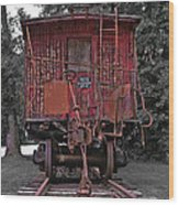 Old Red Train Wood Print