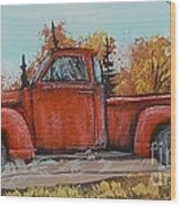 Old Red Truck Going Down The Road Wood Print