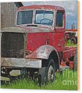 Old Rusted Semi-truck  Wood Print