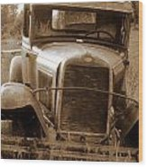 Old Rustic Ford-sepia Wood Print