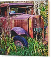 Old Rusting Truck Wood Print