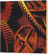 Old Rusty Gears Wood Print by Garry Gay