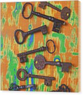 Old Rusty Keys Wood Print