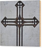 Old Rusty Vintage Cross Wood Print