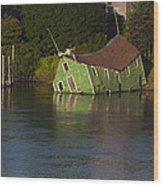 Old Shack Sinking  Wood Print