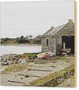 Old Shed By The Sea Wood Print