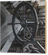 Old Ships Wheel, Chains And Wood Planks Wood Print