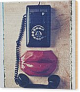 Old Telephone And Red Lips Wood Print