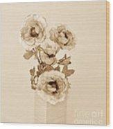 Old Time Brown Toned Peonies Wood Print