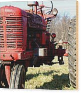 Old Time Tractor Wood Print