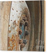 Old Tractor Wheel Wood Print