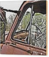 Old Truck Mirror Wood Print