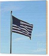 Old Usa Flag Wood Print