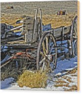 Old Wagon At Bodie Ghost Town Wood Print
