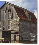 Old Wagon Older Barn Different View Wood Print