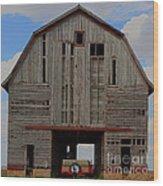 Old Wagon Older Barn Panoramic Stitch Wood Print