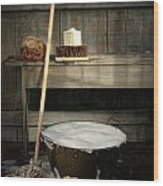 Old Wash Bucket With Mop And Brushes Wood Print