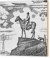 Old-west-art-cowboy Wood Print