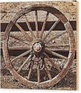 Old West Wheel Wood Print by Kelley King