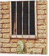 Old Western Jailhouse Window Wood Print